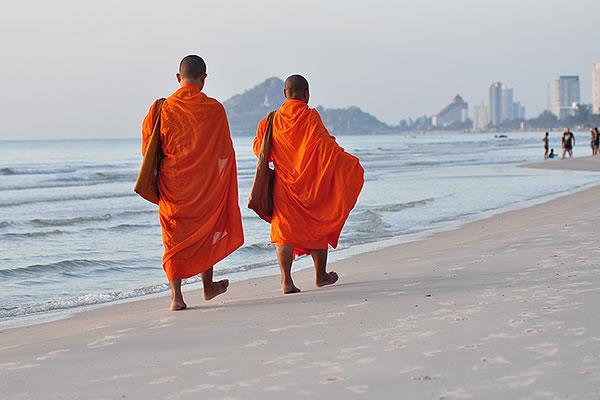 buddhist monks on the beach hua hin