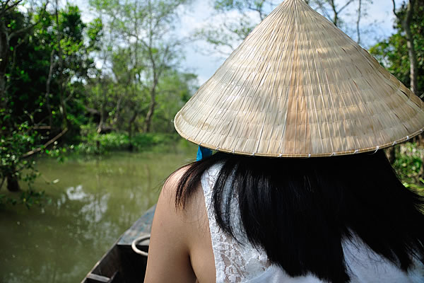 Longtail boat on the Khong river