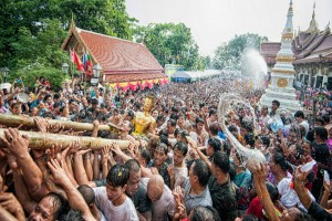 songkran nong khai thai new year crowd water festival